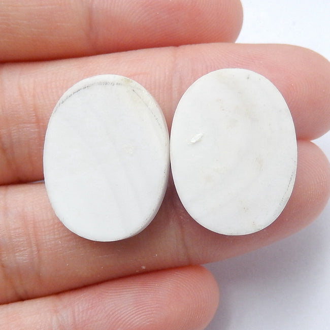Natural white Agate Oval Gemstone Cabochon Pair, 20x15x6mm, 6.1g - MyGemGarden