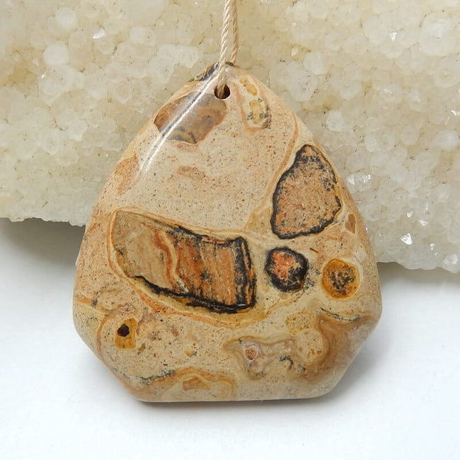 New design yellow spot stone Drilled Gemstone Pendant Bead, 45x40x6mm, 19.4g - MyGemGarden