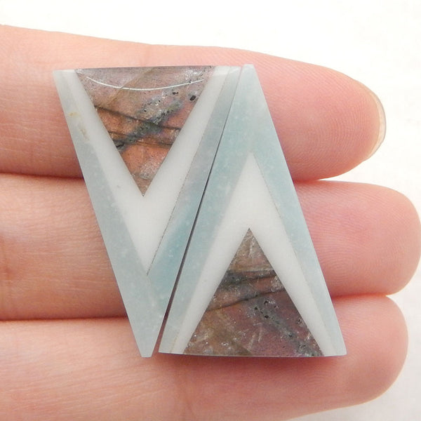 Triangle Amazonite, White Jade, Labradorite Glued Gemstone cabochons, 28x18x4mm, 5.7g