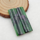 Ruby And Zoisite Rectangle Earrings Stone Pair, stone for earrings making, 41x12x5mm, 14.1g
