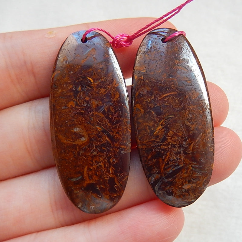 Natural Boulder Opal Drilled Earrings Pair 39x17x4mm,11.0g - MyGemGarden