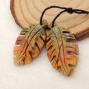 Multicolor Picasso Jasper Carved Leaf Earrings Stone Pair, 31x17x4mm, 4.9g