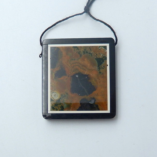 Natural Black Stone and Rainforest stone Drilled Rectangle Glued Pendant Bead, 42x38x6mm, 28.3g - MyGemGarden