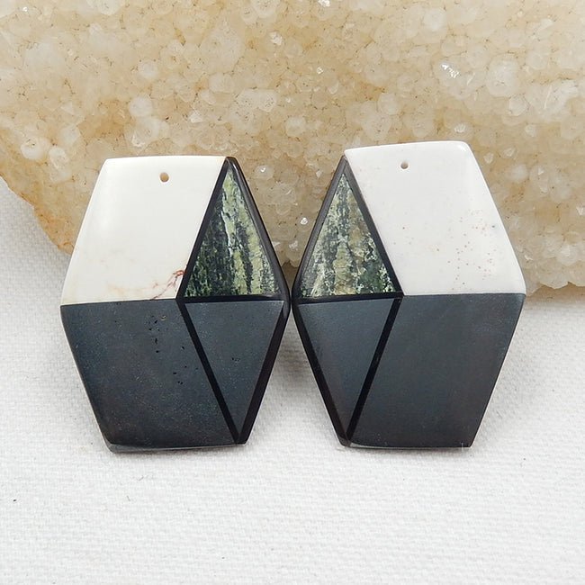 Howlite, Hematite, Obsidian And Green Zabra Jasper Glued Gemstone Earrings Stone Pair, 41x32x4mm, 27.6g - MyGemGarden