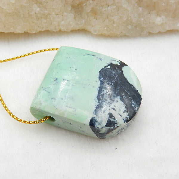 Green Turquoise Side Drilled Pendant Stone, 33x30x12mm, 19.5g