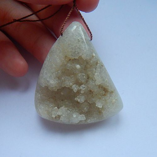 New Triangle Drusy Quartz Gemstone Fashion Pendant Bead 42x36x12mm 26.53g - MyGemGarden