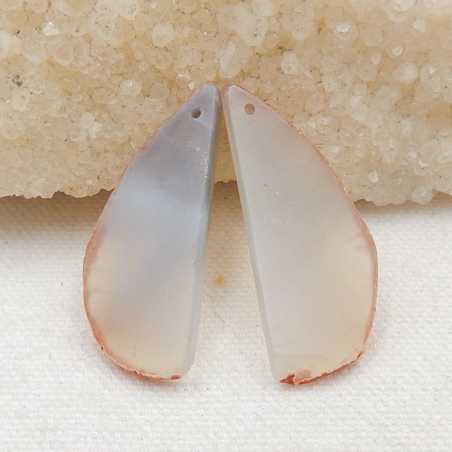Nugget Agate Earrings Stone Pair, stone for earrings making, 39x16x3mm, 7.3g - MyGemGarden