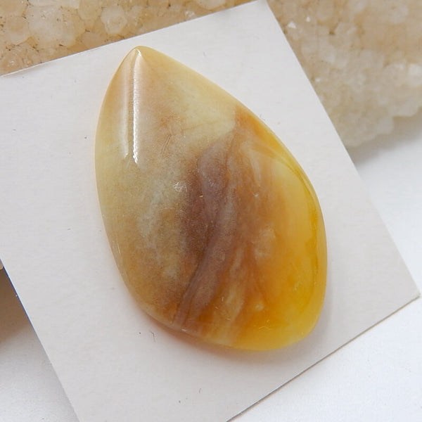 Natural Yellow Opal Gemstone Cabochon, 34x23x7mm, 5.3g - MyGemGarden