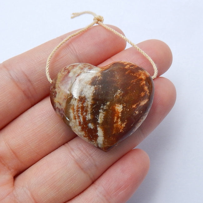 New design Indonesian Wood Fossil Drilled Heart Gemstone Pendant Bead, 33x28x12mm, 14.2g - MyGemGarden