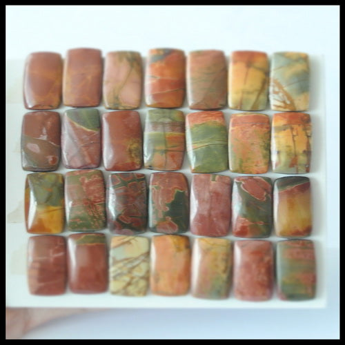 28PCS Natural Multi-Color Picasso Jasper Gemstone Cabochon 17x11x4mm,17x11x5mm,53.0g - MyGemGarden