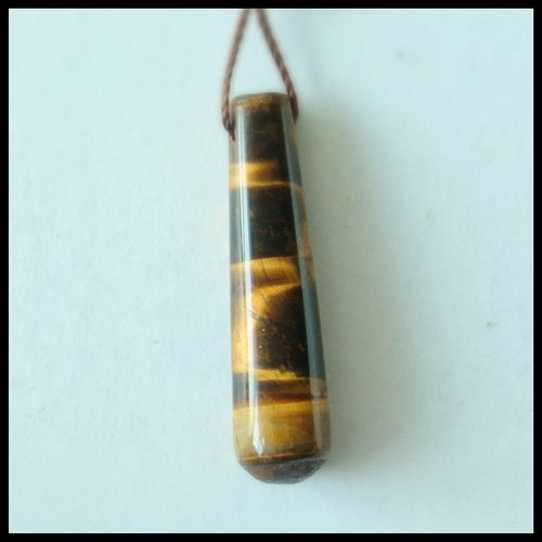 Natural Tiger-Eye Gemstone Pendant Bead, 29x7x7mm, 2.6g - MyGemGarden