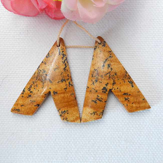Picture Jasper Earrings,Dangle Earrings,Gemstone Earrings,Natural Stone Jewelry,36x31x5mm, 11.5g - MyGemGarden