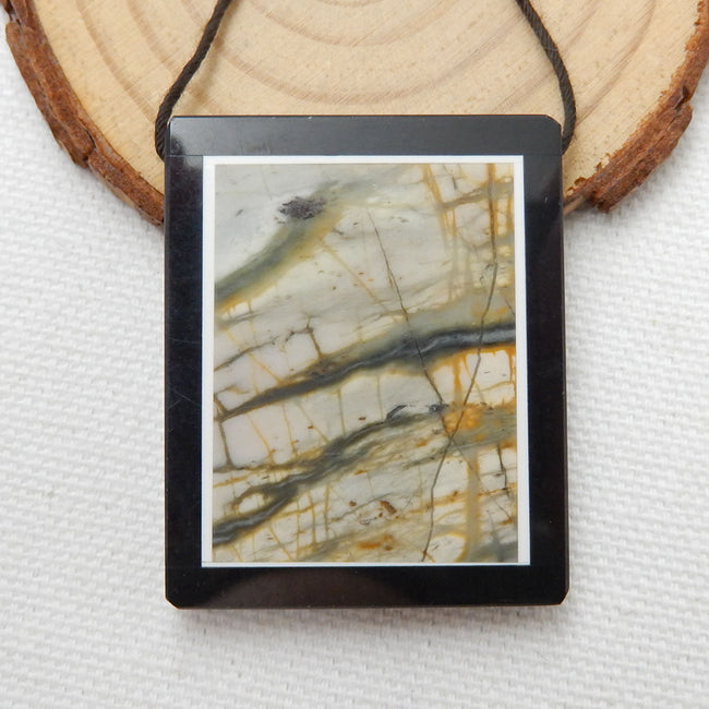Natural Black Stone And Picasso Jasper Drilled Glued Pendant Bead, 40x32x5mm, 17.2g - MyGemGarden