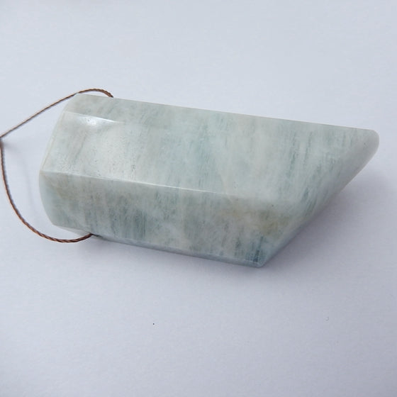 Blue Aquamarine Gemstone Natural Pendant Bead, 49x22x16mm, 32.9g - MyGemGarden
