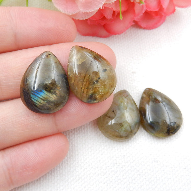 4 Pcs High quality Teardrop Labradorite flatback cabochons for jewelry making, 19x15x7/5mm, 9.7g - MyGemGarden
