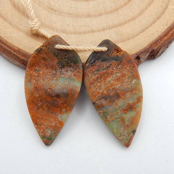 Green opal Carved Leaf Earrings Stone Pair, 27x14x4mm, 4.1g - MyGemGarden