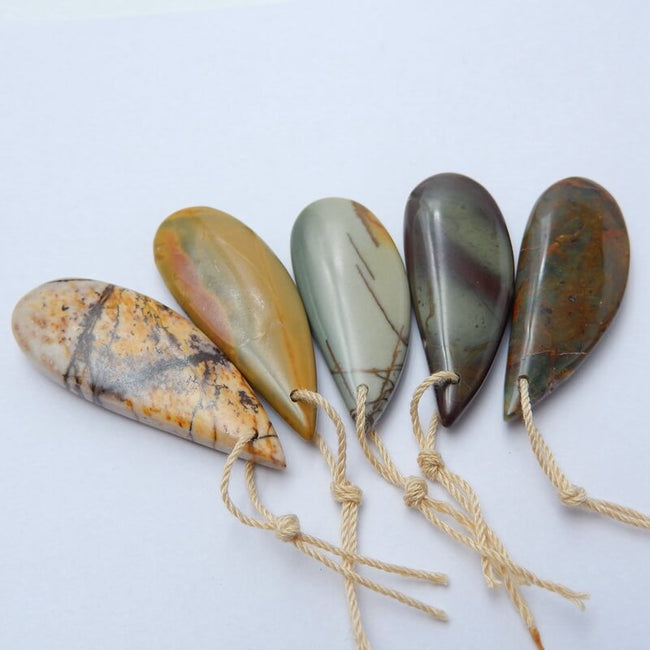 5 Pcs Natural Multi-Color Picasso jasper and green opal Gemstone Pendant Bead, 39x15x6mm, 36x15x4mm, 22.4g - MyGemGarden