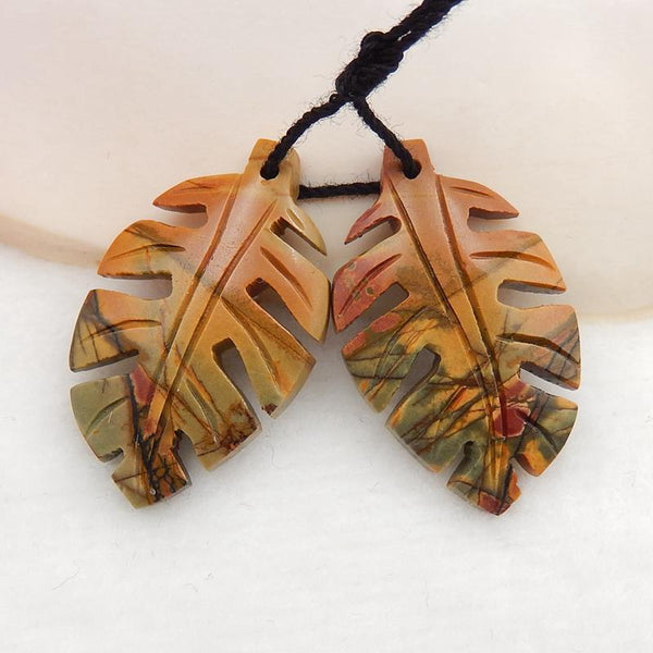Multicolor Picasso Jasper Carved Leaf Earrings Stone Pair, 30x18x4mm, 5.5g