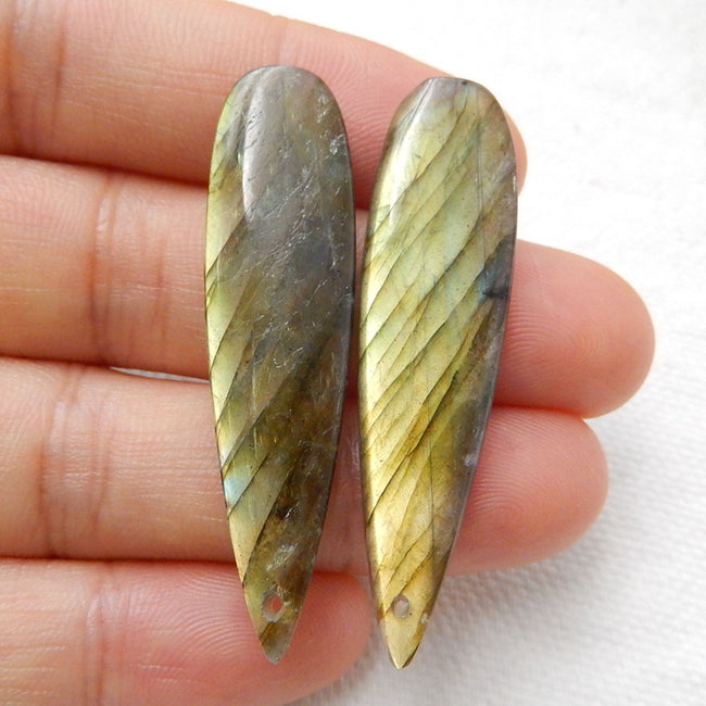 Teardrop Labradorite Earrings Stone Pair, stone for earrings making, 43x11x4mm, 7g - MyGemGarden