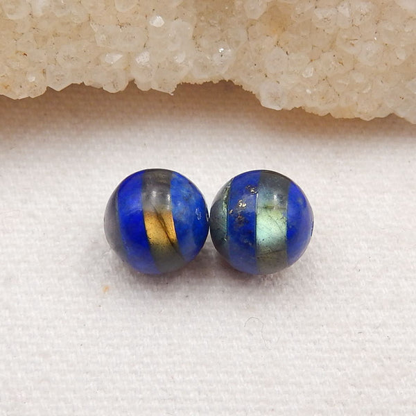 Lapis Lazuli and Labradorite Glued Earrings Stone Pair, Earrings Pair Wholesale Supply, 10x10mm, 2.8g - MyGemGarden