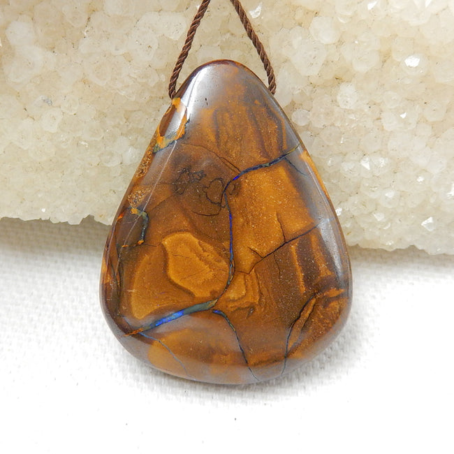 New, Natural Boulder opal Drilled Teardrop Gemstone Pendant Bead, 38x30x9mm, 13.8g - MyGemGarden