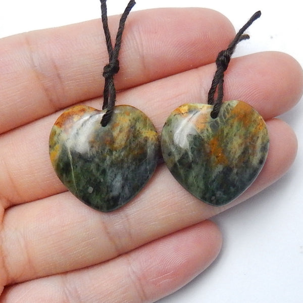 Green Opal Heart Earrings Pair, 22x21x4mm, 6.3g - MyGemGarden
