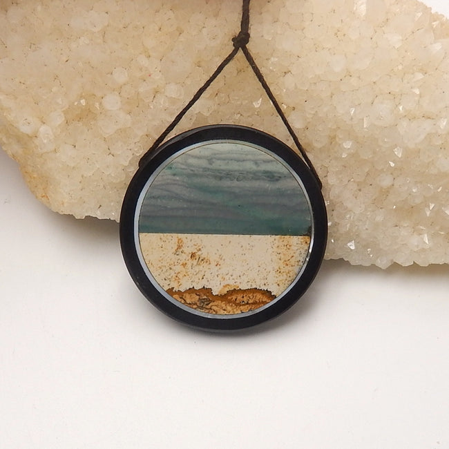 Natural Black Stone, Wave Jasper And Wood Fossil Gemstone Glued Drilled round Pendant, 39x6mm, 16.9g - MyGemGarden