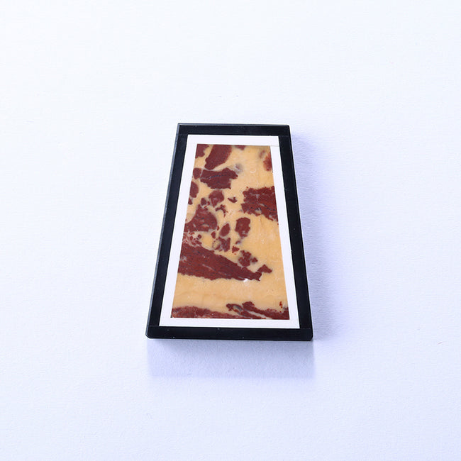 Black Jasper, White Jade and Red Picture Jasper Glued Trapezoid Pendant, 39x30x7mm, 17.6g - MyGemGarden