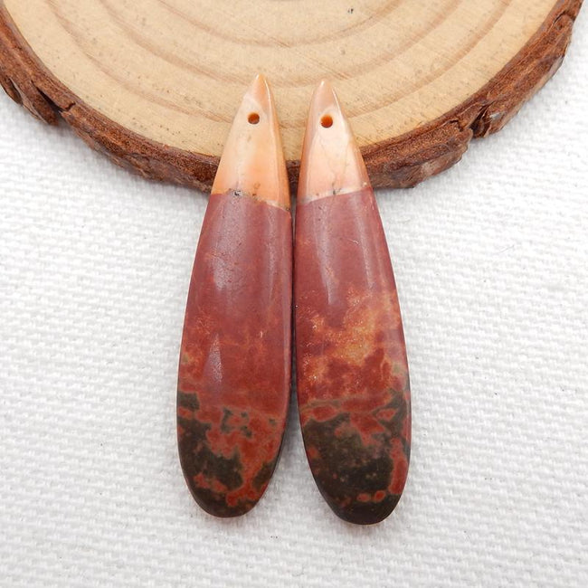 Multicolor Picasso Jasper Teardrop Earrings Stone Pair, stone for earrings making, 40x10x5mm, 5.7g