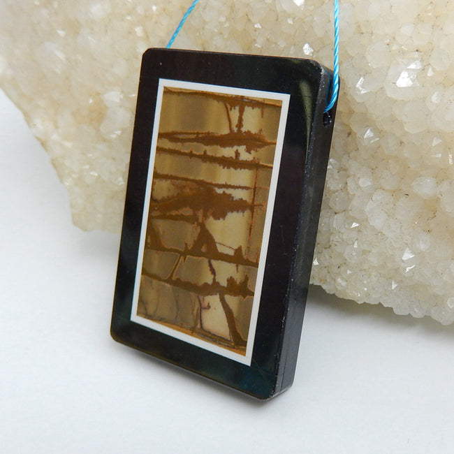 Natural Black Stone And Multi-Color Picasso jasper Drilled Rectangle Glued Pendant Bead, 45x31x5mm, 20.2g - MyGemGarden