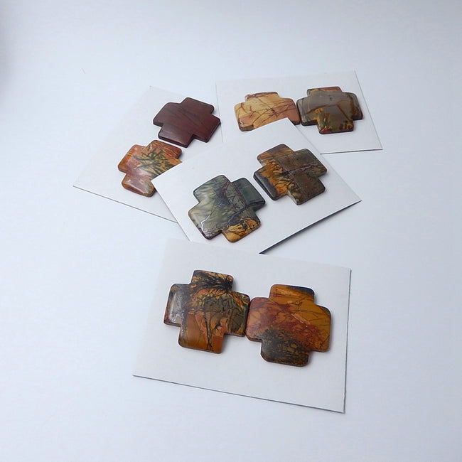 2 pcs Multi-color Picasso Jasper  cabochons 40x40x7mm - MyGemGarden
