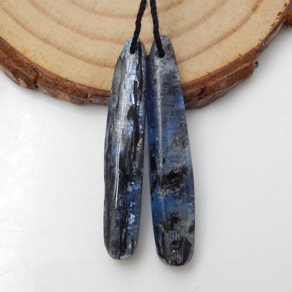 Blue Kyanite Earrings Stone Pair, stone for earrings making, 36x7x4mm, 4.9g - MyGemGarden