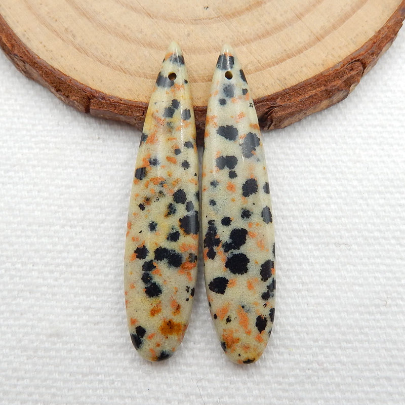 Dalmatian Jasper Teardrop Earrings Stone Pair, stone for earrings making, 40x9x4mm, 4.6g - MyGemGarden