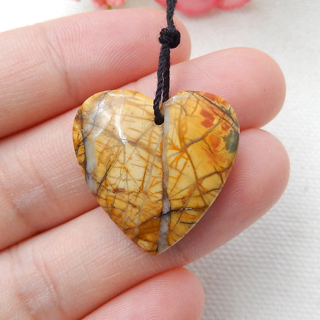 Natural Multi-Color Picasso jasper Drilled Heart Pendant Bead, 23x7mm, 4.8g - MyGemGarden