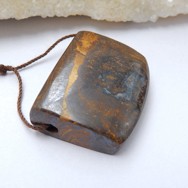Natural Boulder opal Drilled Gemstone Pendant Bead, 35x27x10mm, 20g - MyGemGarden