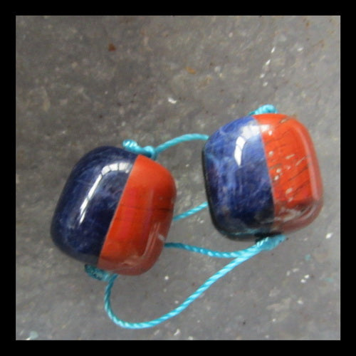 Red River, Lapis lazuli,  Obsidian, Amazonite Glued Earrings Pair,12x11mm,5.3g - MyGemGarden