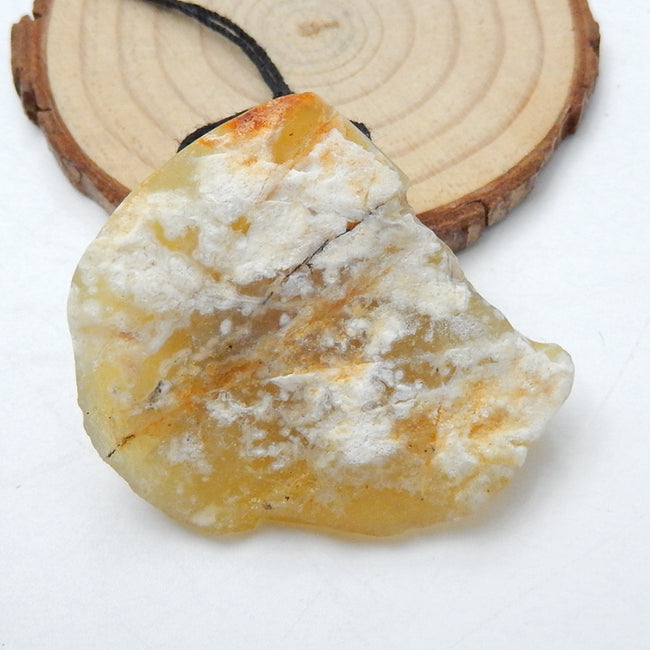 Nugget Yellow Opal Gemstone Pendant, Natural Stone Jewelry, 43x37x18mm, 24.3g - MyGemGarden