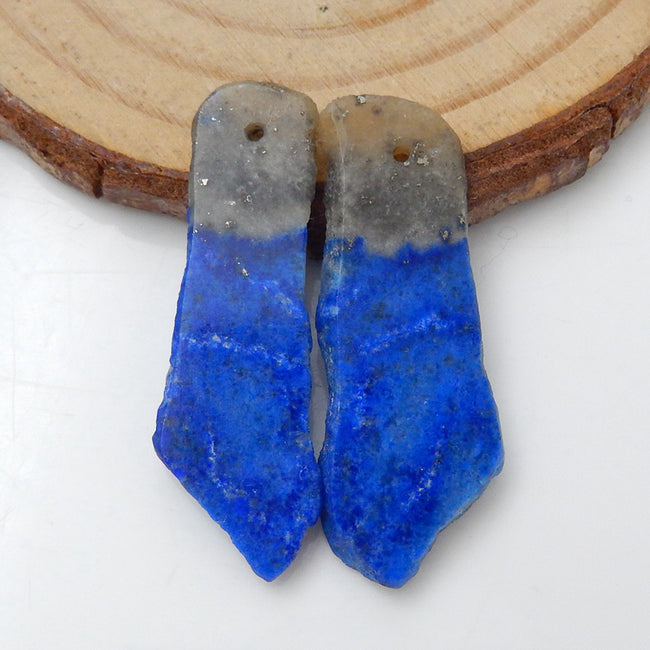 Nugget Lapis Lazuli Earrings Stone Pair, stone for earrings making, 33x12x3mm, 33x10x3mm, 3.6g - MyGemGarden