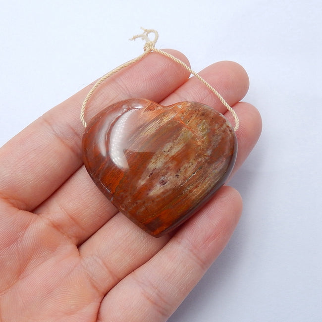 New design Indonesian Wood Fossil Drilled Heart Gemstone Pendant Bead, 40x35x12mm, 21.7g - MyGemGarden