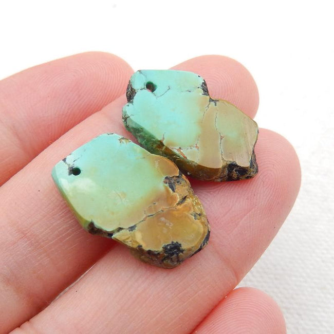 Nugget Turquoise Earrings Stone Pair, stone for earrings making, 20x12x3mm, 2.7g