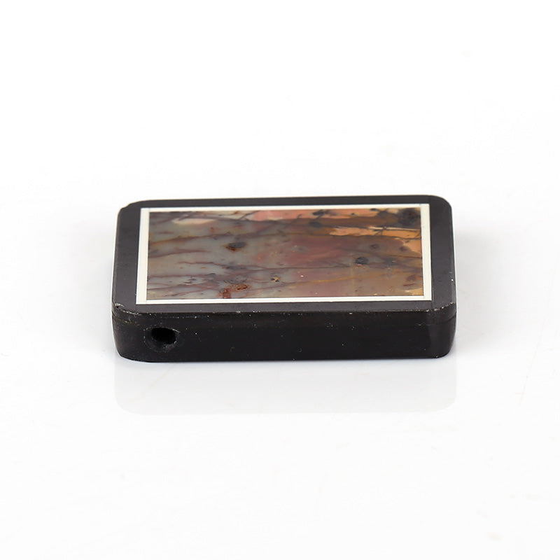 Natural Black Stone And Multicolor Picasso jasper Drilled Glued Rectangle Pendant Bead, 35x30x6mm, 15.4g - MyGemGarden