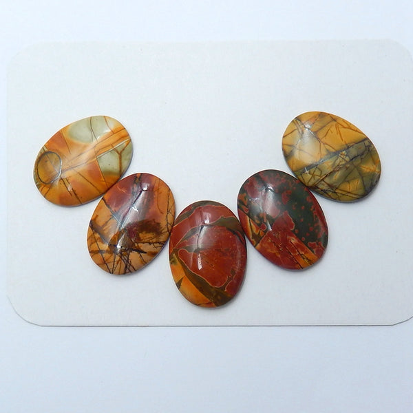 5 pcs Natural Multi-Color Picasso jasper Oval Cabochons, 25x18x4mm, 19.3g - MyGemGarden