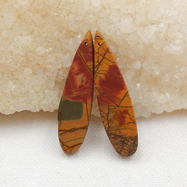 Multicolor Picasso Jasper and White Quartz Glued Gemstone Earrings Stone Pair, 42x10x6mm, 7.8g - MyGemGarden