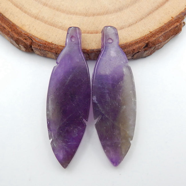 Hand Carved Amethyst Feather Shaped Earrings Stone Pair, 31x10x4mm, 3.9g - MyGemGarden