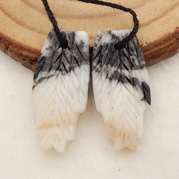 White Zabra Jasper Carved Feather Shaped Earrings Stone Pair, 25x12x3mm, 3.1g