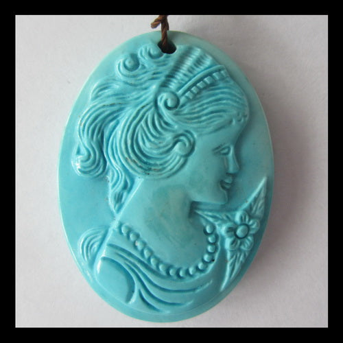 Turquoise Beauty Carving Pendant Bead, 38x23x7mm, 13g - MyGemGarden