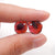 Little Nugget Red Garnet Earrings Stone Pair Pair, 11x10x3mm, 1.7g