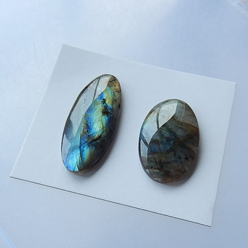 New Arrival! Natural Shining Labradorite Cabochon Pair,39x16x5mm,31x19x5mm,10.05g - MyGemGarden