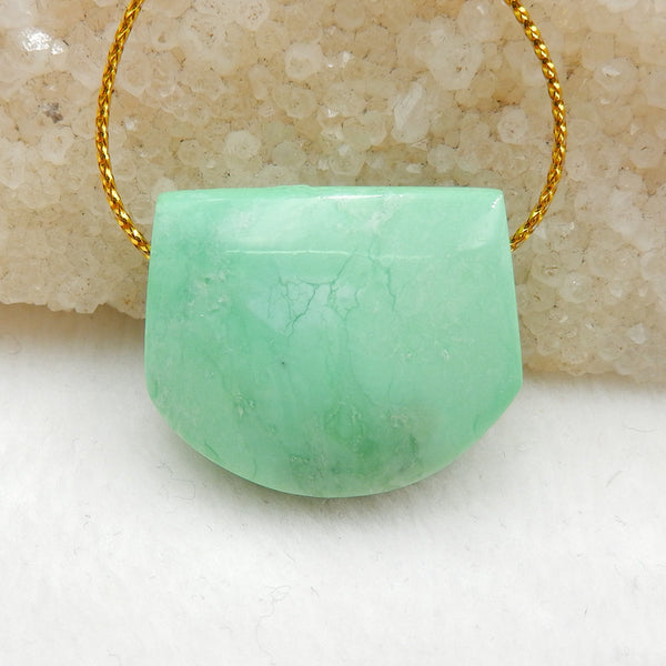 Green Turquoise Side Drilled Pendant Stone, 28x23x9mm, 10g