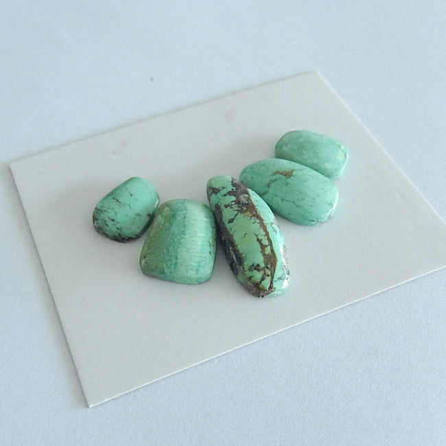 5PCS  Freeform Turquoise  Cabochon Pairs For Jewelry Making25x9x5mm,13x10x3mm 6.1g - MyGemGarden